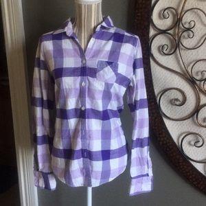 Cozy AE button up plaid shirt size 12 purple